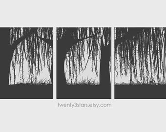 Weeping Willow Trees Triptych Prints, Choose Any Colors Minimalist Wall Art Unframed Set of 3 Art Prints
