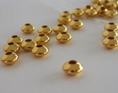 Gold Saucer Beads (100) Spacers Gold Plated Smooth Shiny Spacer 5 x 3mm Rondelle Wholesale Jewelry Supplies CrazyCoolStuff