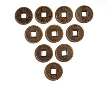 10 Antique Bronze Chinese Coin Charms - 21-23-3