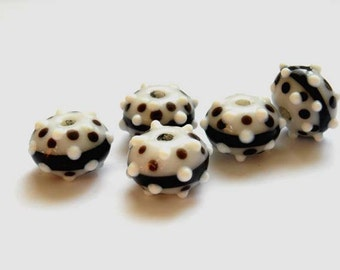 5 Black And White Lampwork Bead Set - 25-27