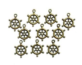 10 Antique Bronze Nautical Ship Wheel Charms - 21-64-2