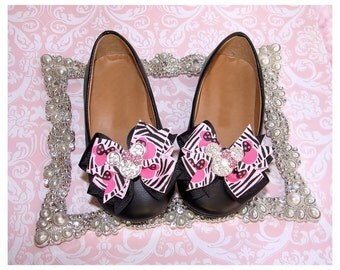 Shoe Bow Clips, Mouse Ear Shoe Bow Clips, Baby Shoe Bow Clips, Girl Shoe Bow Clips, Toddler Shoe Bow Clips,