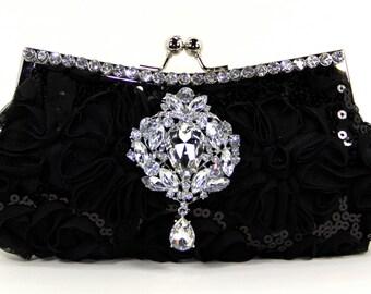 Black Silk Bridal Clutch with Swarovski Crystal Accent