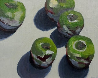 Green Apples I, original acrylic still life painting