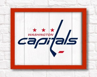 WASHINGTON CAPITALS rustic handmade painted wood sign - Capitals fan - Boys room decor Man cave decor - Fathers Day gift for Dad