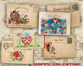 Valentine Cards - Digital Collage Sheet - Vintage Gift Cards 2.5x3.5 inch - Vintage Gift Tags - VINTAGE CUPIDS