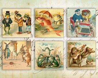 Digital Squares - Digital Collage Sheet - 1inch & 2inch - Printable Download - instant download - VINTAGE HUMANLY ANIMALS