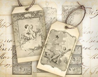 Vintage gift tags Digital collage sheet Instant printable download Best for paper craft, scrapbooking - ANGELS PRAY