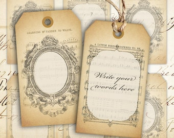 Digital collage sheet Blank vintage gift tags Instant printable download Best for paper craft, scrapbook - BLANK GIFT TAGS