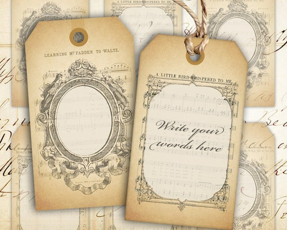 digital collage sheet blank vintage gift tags instant