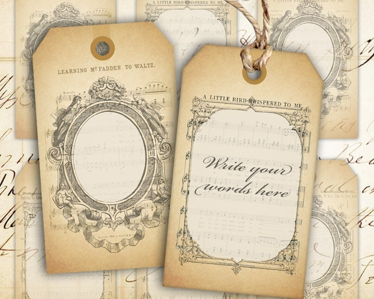 Blank Printable Tags: Digital Collage Sheet Blank Vintage Gift Tags Instant