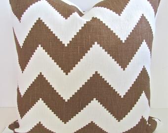 JONATHAN ADLER PILLOW 18x18 Throw Pillow Covers Brown Chevron Decorative Throw pillows Adler Chevron Pillows .Sale. Home Decor