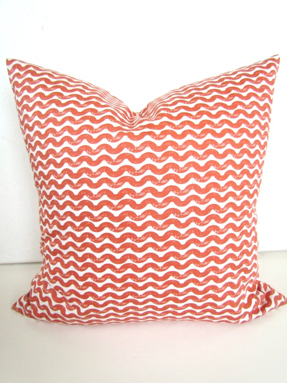 Decorative Pillow Covers 16x16 : Items similar to PILLOW COVER 16x16 CORAL Decorative Throw Pillows Chevron Pillow Covers salmon ...