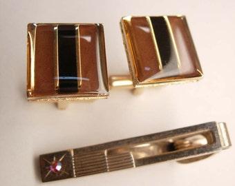 Versace Cuff links Vintage Art Deco Cufflinks Enamel Signed VJC Bonus Tie Clip Faux Red Stone mens jewelry gentleman gift