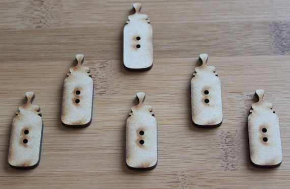 6 Craft Wood Baby Bottle Buttons, 1.5 cm Wide, Laser Cut Wood