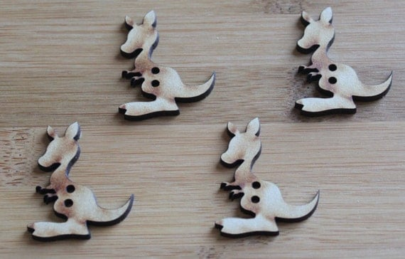 4 Craft Wood Little Kangaroo Buttons, 3.2 cm Wide, Laser Cut Wood
