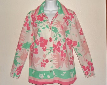 Vintage 70's pink and green floral patterned blouse