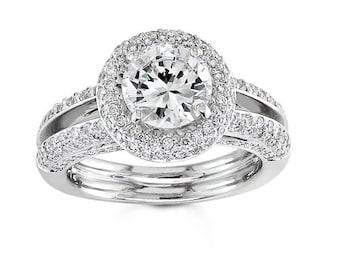 Ladies Platinum micro pave engagement ring 1.00 ctw G-VS2 diamonds and 2.00ct White Sapphire Center