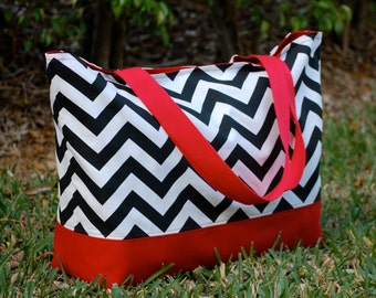 Black Chevron and Red Tote Bag