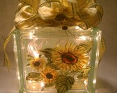 Sunflowers Hand Painted Lighted Block