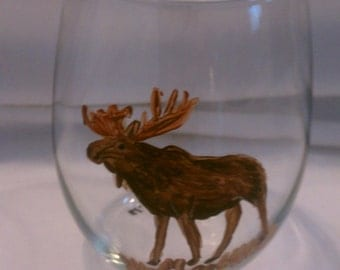 20oz Stemless Moose Wine Glass Set Hand Painted Set of 4