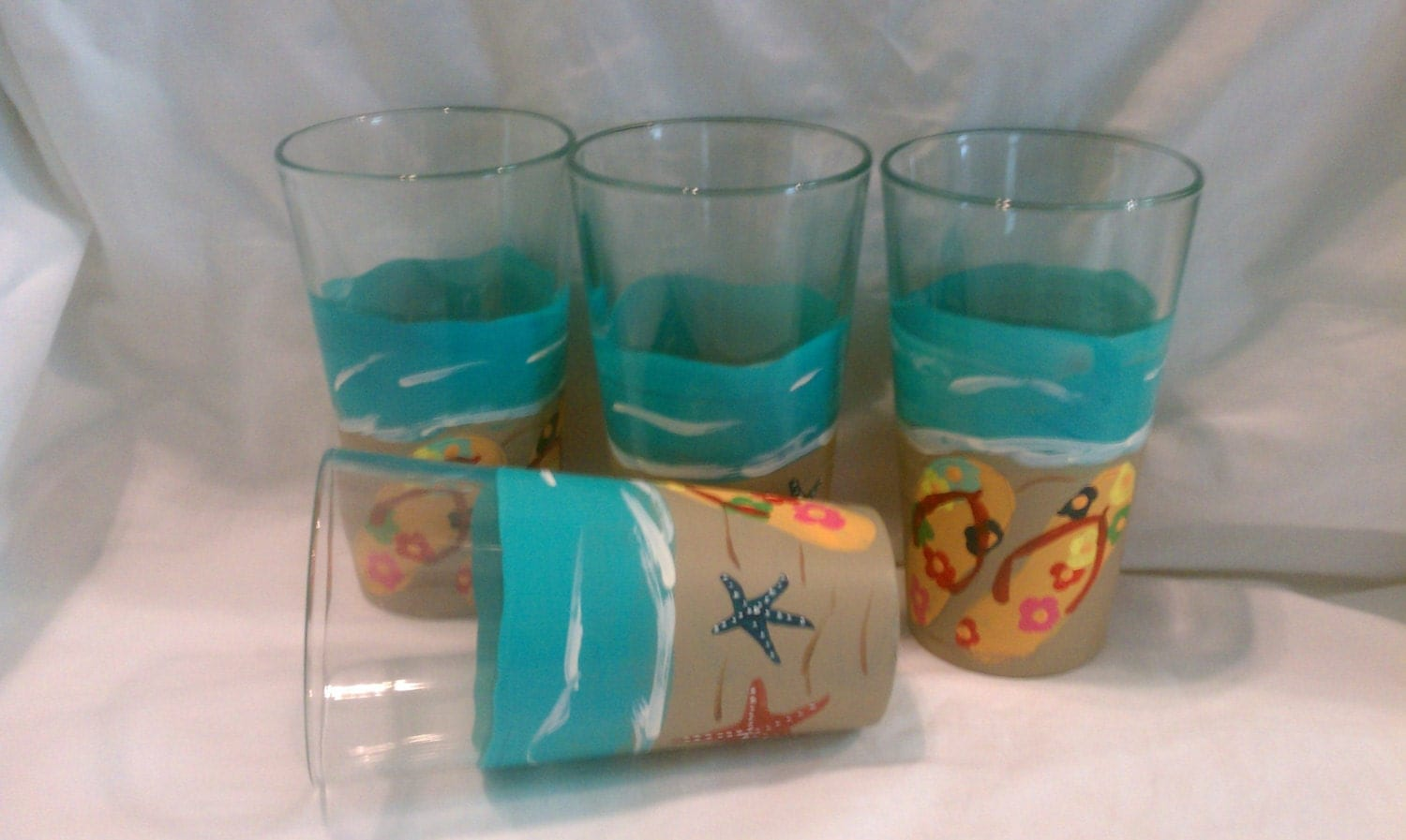 Sea shore flip flop hand painted 16oz drinking glasses for Hand painted drinking glasses