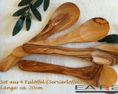 4 x Olive wood wooden spoon spoons - handmade