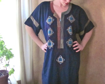 Long Indian Royal Blue Cotton Diamond Eye Caftan