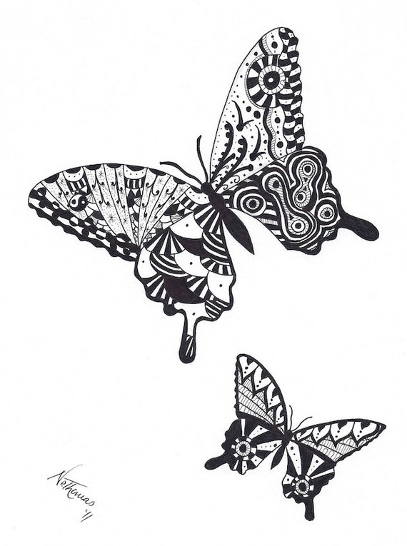 Zentangle  Butterflies  Butterfly  bedroom  pili pala  valentineZentangles Butterfly