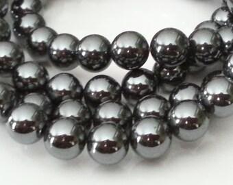 "1-16"" Strand Hematite Smooth Rounds 10mm (42 beads)"