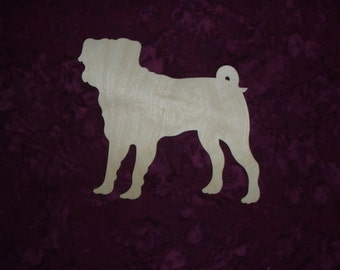 """Pug Dog Wood Cut Out Unfinished Animal Wooden Animal Shape Cut Out  5"""" x 6""""  Artistic Craft Supply"""
