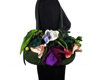 Felted Bag Flower Purse Green Handbag Art Purse Olive wild Felt Nunofelt wearable art Nuno felt shoulder bag fairy floral fantasy
