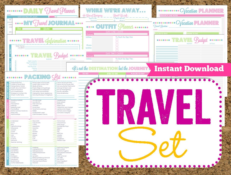 INSTANT DOWNLOAD Travel Printables Vacation by HappyOrganizedLife