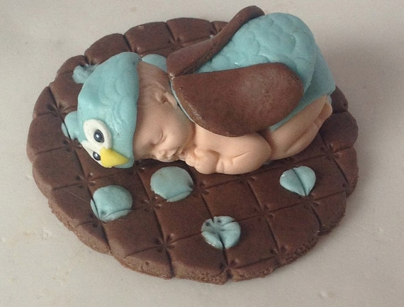 Items similar to fondant owl cake topper baby shower first for Baby owl decoration