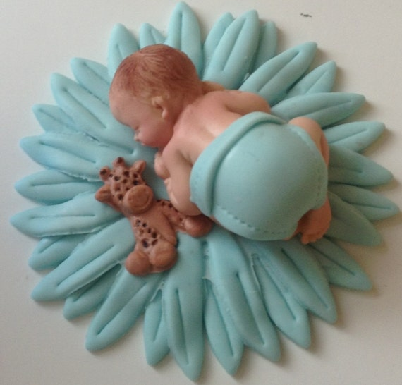 Items Similar To Baby Shower Boy Fondant Cake Topper First