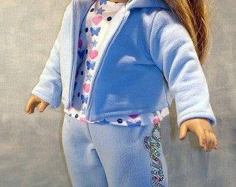 Gymnastics Warm Up Suit, Blue made to fit 18 inch dolls