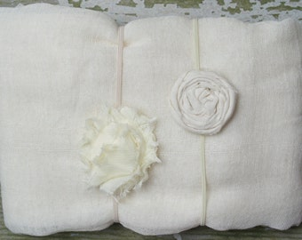 Any Color Matching Cheesecloth Wrap and Headband Set for Newborn Photo Shoot, Infant Wrap/Headband Set, Newborn Photo Prop