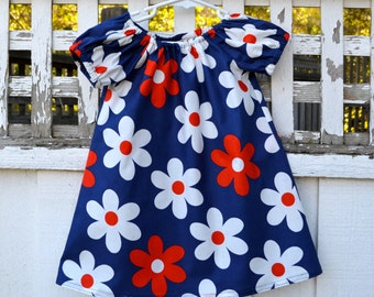 Gathered Peasant Toddler Dress Sweet and Simple Red White and Blue Little Girls Dress
