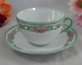 1950s Vintage Japanese Hand Painted  Lusterware Teacup and Saucer