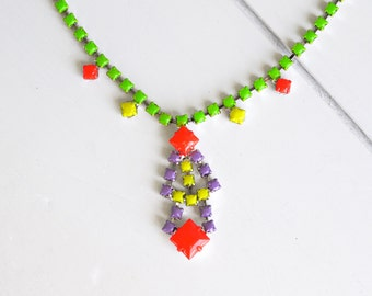 vibrant neon green and colorful coral hand painted vintage rhinestone necklace