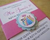 Custom Order for (Meredith Gendell Rosen) -Disney Inspired All Princess Handmade Invitations, thank you cards & favor tags