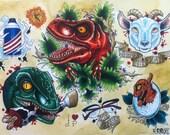 "Digital print of original marker drawing ""Jurassic Park"""