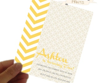 Modern Yellow Children's Party PDF Printable Birthday Invitation
