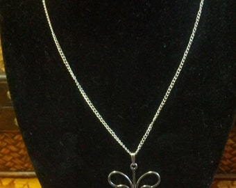 Pretty Silver tone metal Butterfly necklace