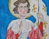 Jeanne d'Arc / St. Joan of Arc. Stylized acrylic portrait on 9x12 canvas.