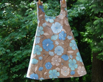 Reversible Pinafore Dress,  Size 3T - blue, brown and white sundress