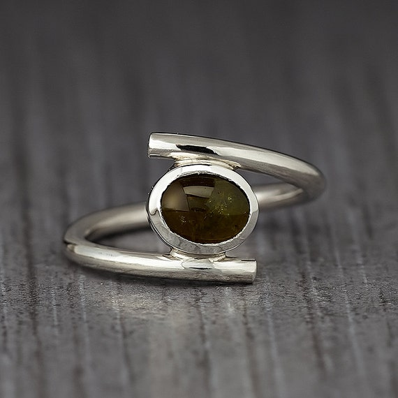 Oval Tourmaline Silver Ring - Stacking Ring