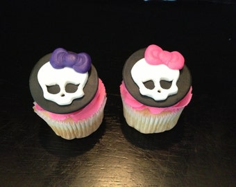 Monster High Inspired Cupcake Toppers - 6 Fondant Toppers