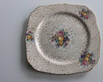 Vintage H & K Tunstall England Plate Gold Filigree Flowers