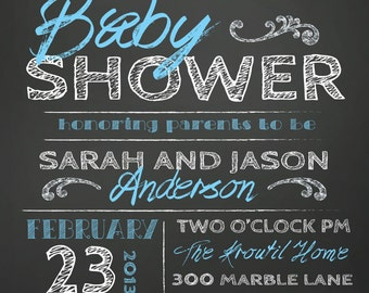 COUPLES BABY SHOWER invitation - chalkboard